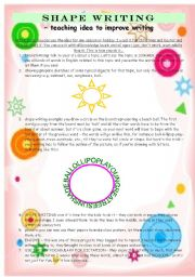 English Worksheets: SHAPE WRITING - a fun and creative teaching idea to improve writing skills
