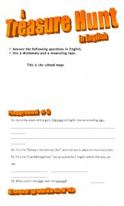 English Worksheets: Awesome Treasure Hunt (outside)!!