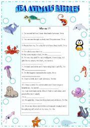 English Worksheet: sea animals riddles