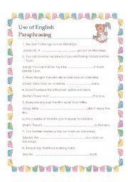 English Worksheet: Use of English paraphrasing FCE