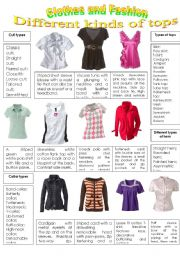 English Worksheet: CLOTHES AND FASHION (part 3- different types of tops) INTENSIVE VOCABULARY COURSE.