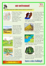 English Worksheets: our environment