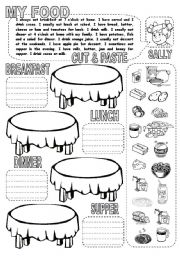 English Worksheets: MY FOOD CUT & PASTE (1)