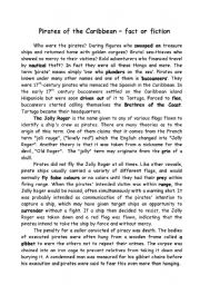 English Worksheet: Pirates of the Caribbean