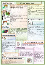 English Worksheet: So, different uses