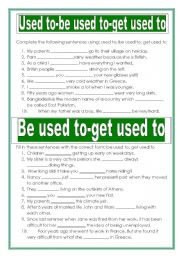 English Worksheet: Used to- be used to- get used to
