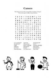 English Worksheet: Careers word search