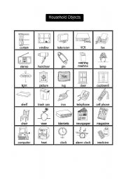 English Worksheets: Household Objects Pictionary
