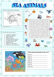 English Worksheets: sea animals activities (part3)
