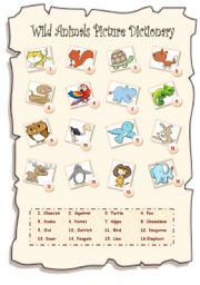 English Worksheet: Wild Animals Picture Dictionary