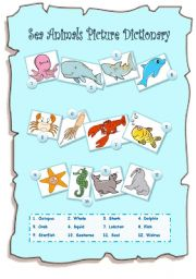 English Worksheets: Sea Animals Picture Dictionary