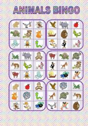English Worksheets: Animals bingo