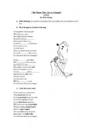 English Worksheets: The times they are a changing -  Bob Dylan