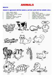 English Worksheets: ANIMALS - RELATE