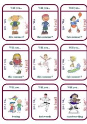 English Worksheet: Will you.....this summer? Game Cards