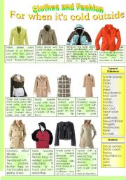 English Worksheet: CLOTHES AND FASHION (part 4- outerwear) INTENSIVE VOCABULARY COURSE.