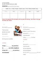 English Worksheets: LOL, 2009 LITTLE SISTER MOVIE SOUNDTRACK LOL, 2009