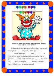 English Worksheets: Sony the Clown