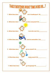 English Worksheet: Daily routines.What time does he....?
