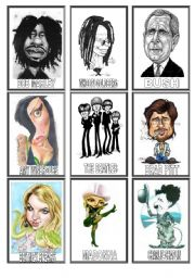 English Worksheet: FAMOUS people CARICATURES game (1/3)