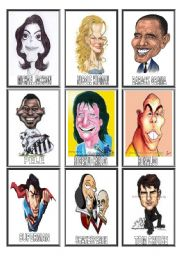 English Worksheet: FAMOUS people CARICATURES game(2/3)
