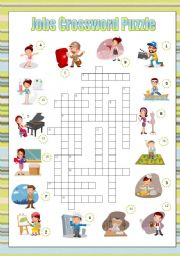 English Worksheet: Jobs Crossword Puzzle