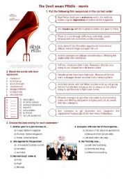 English Worksheet: The Devil wears Prada - movie about fashion