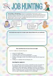 English Worksheet: Job hunting - speaking and reading for intermediate+ students
