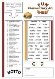 English Worksheets: Fun Sheet Elementary 43