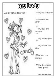 English Worksheets: MY BODY (for girls)