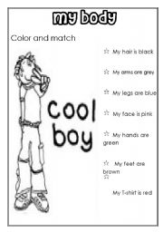 English Worksheets: MY BODY (for boys)