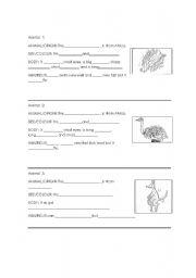English worksheet: Animal`s description