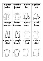 English Worksheets: Clothes-memory game