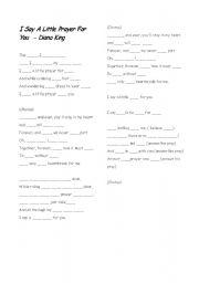 English Worksheet: Diane King - I say a little prayer for you