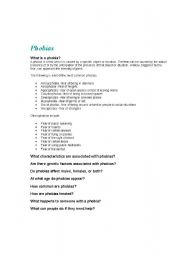 English Worksheet: Conversation Class on Phobias and Fears