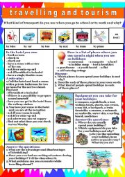 English Worksheet: Travelling & tourism