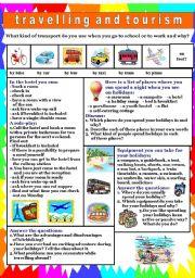 English Worksheet: Travelling & tourism