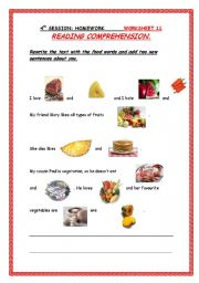 English Worksheets: food reading comprehension