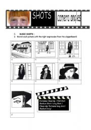 English Worksheet: SHOTS AND CAMERA ANGLES