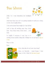 English Worksheet: Bee idioms
