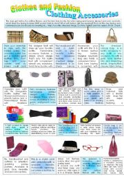 English Worksheet: CLOTHES AND FASHION (part 5- Accessories ) INTENSIVE VOCABULARY COURSE.