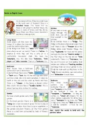 English Worksheet: Inside an English house
