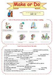 English Worksheet: Make or Do - exercises