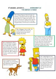 English Worksheet: simpson�s family