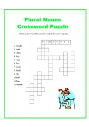 plural nouns crossword puzzle this is a fun crossword puzzle that will ...