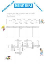 The Past Simple Regular Verbs Crossword Esl Worksheet By Peiolei