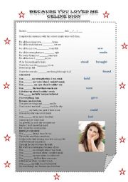 English Worksheet: because you loved me by Celine Dion