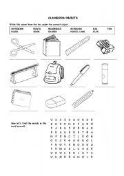 la escuela de ingles de eva classroom objects and crosswords. Black Bedroom Furniture Sets. Home Design Ideas