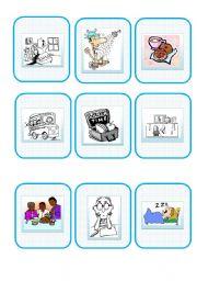 English Worksheet: Daily Routine Speaking Card Game - Part 1/2