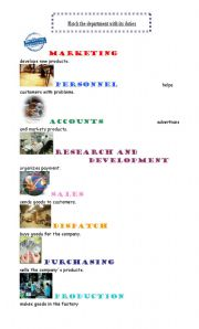 English Worksheets: Departments of a company and its duties